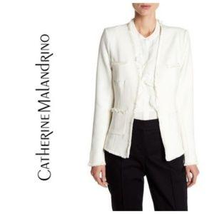Catherine Malandrino Blazer White Fringe Trim